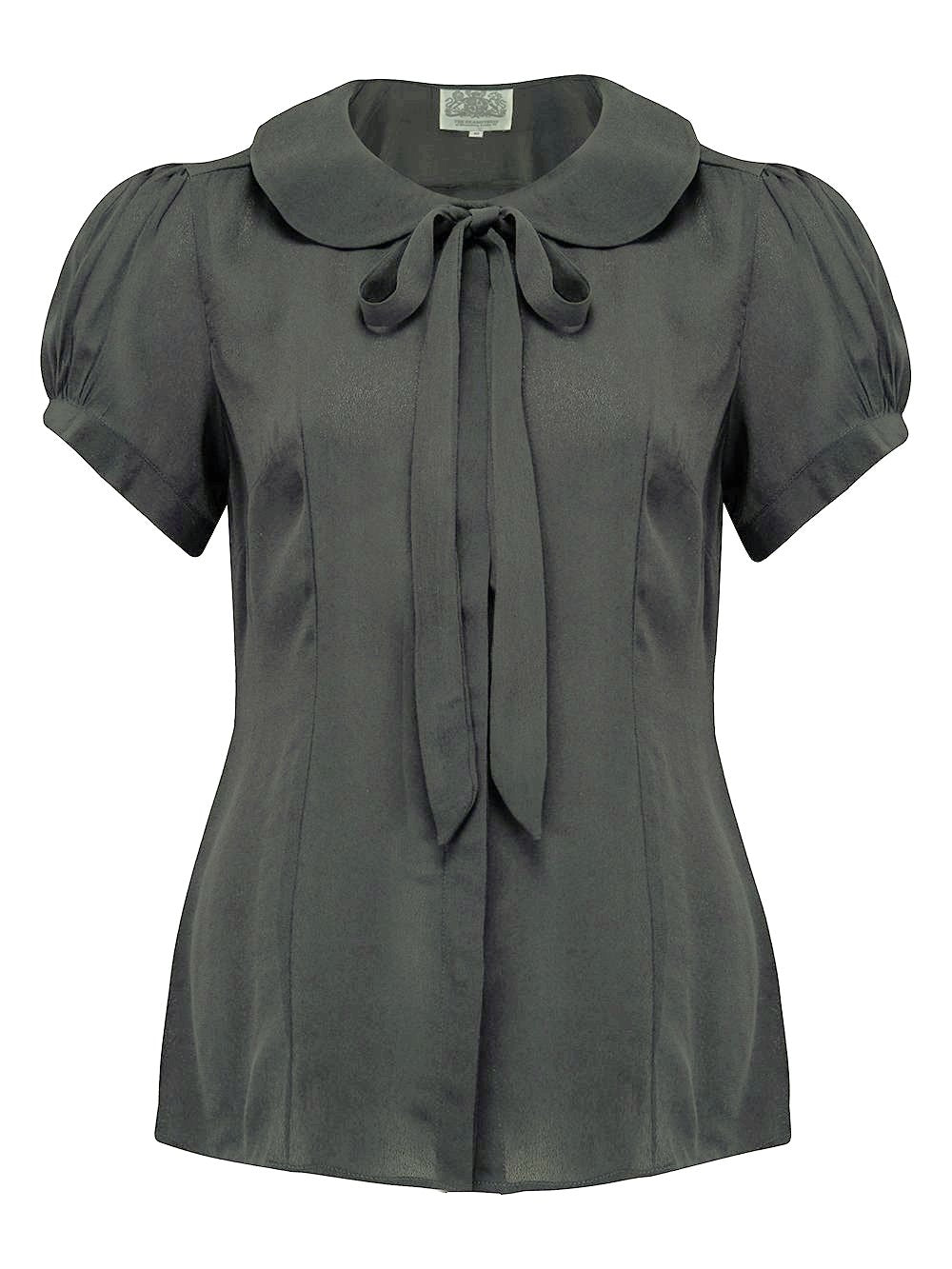 """Tie-Blouse"" in Black by The Seamstress Of Bloomsbury Classic 1940s Vintage Style"