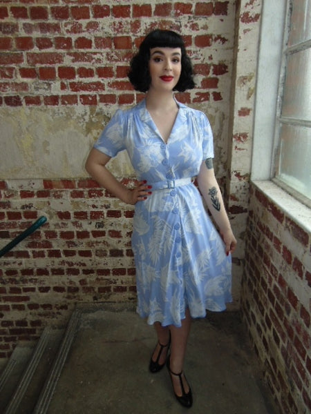 1940's Vintage Inspired Lisa Dress in Blue Hawaii by The Seamstress of Bloomsbury