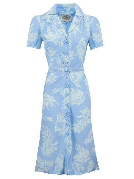 "The Seamstress Of Bloomsbury ""Lisa"" Tea Dress in Tropical Blue Hawaiian Print, Authentic 1940s Vintage Style at its Best - RocknRomance Clothing"