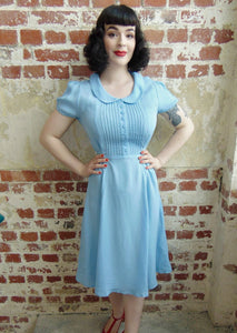 """Dorothy"" Swing Dress in Powder Blue by The Seamstress of Bloomsbury, Mid 1940s Inspired, Vintage Style"