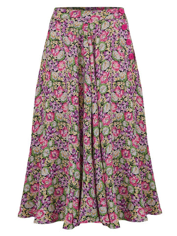 "The Seamstress Of Bloomsbury The 1940s Vintage Inspired ""Isabelle"" Skirt in Lilac & Pink Floral by The Seamstress of Bloomsbury - RocknRomance Clothing"