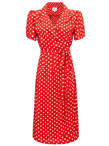 "The Seamstress of Bloomsbury ""Peggy"" Wrap Dress in Red with Polka Dot Spot, Classic Vintage Inspired 1940s Style - RocknRomance Clothing"
