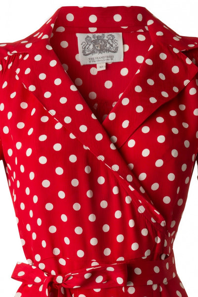 """Peggy"" Wrap Dress in Red with Polka Dot Spot Print by The Seamstress of Bloomsbury, Classic Vintage Inspired 1940s Style"