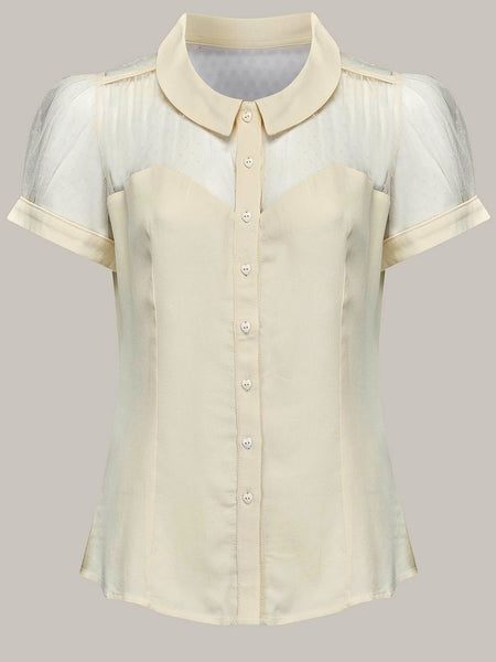 """Florance"" Blouse in Cream by The Seamstress Of Bloomsbury, Classic & Authentic 1940s Vintage Inspired Style"