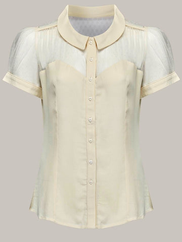 """Florance"" Blouse in Cream, Classic & Authentic 1940s Vintage Inspired Style - RocknRomance True 1940s & 1950s Vintage Style"