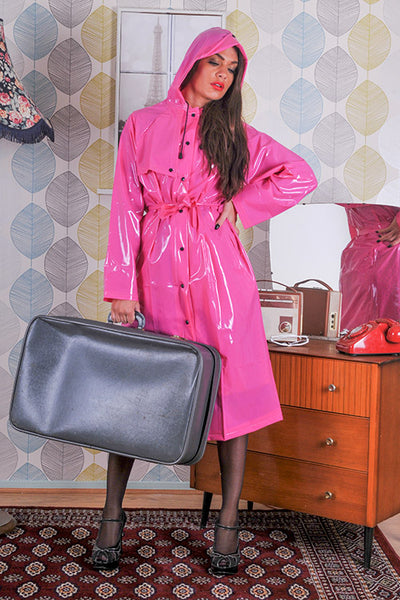 "Elements Rain Wear 1950s Style Inspired ""Modern Girl Rain Mac"" in Magenta Pink Gloss by Elements Rainwear - RocknRomance Clothing"
