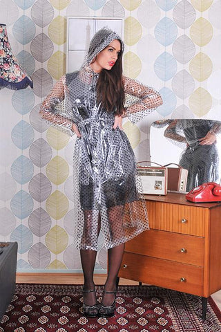 "1950s Style Inspired ""Modern Girl Rain Mac"" in Clear with Black Polka by Elements Rainwear"