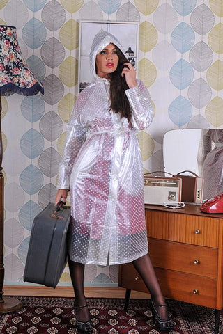 "Elements Rain Wear 1950s Style Inspired ""Modern Girl Rain Mac"" in Semi Transparent with White Polka by Elements Rainwear - RocknRomance Clothing"