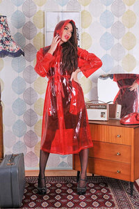 "Elements Rain Wear 1950s Style Inspired ""Modern Girl Rain Mac"" in Red Transparent by Elements Rainwear - RocknRomance Clothing"