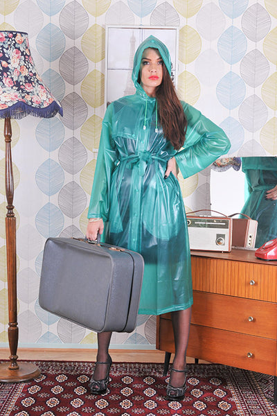 "Elements Rain Wear 1950s Style Inspired ""Modern Girl Rain Mac"" in Green Semi Transparent by Elements Rainwear - RocknRomance Clothing"