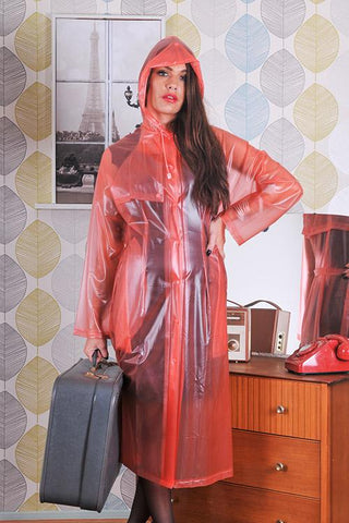 "Elements Rain Wear 1950s Style Inspired ""Modern Girl Rain Mac"" in Red Semi Transparent by Elements Rainwear - RocknRomance Clothing"