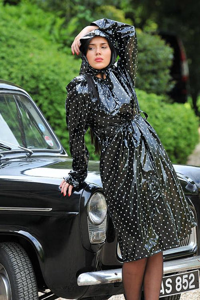 "Authentic 1940s & 50s Style ""Vintage Rain Mac & Headscarf/Bonnet"" in Black Shiny with White Polka by Elements Rainwear"
