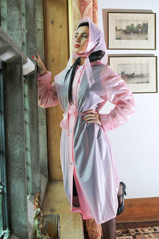 "Elements Rain Wear Authentic 1940s & 50s Style ""Vintage Rain Mac & Headscarf/Bonnet"" in Pink Semi Trasparent by Elements Rainwear - RocknRomance Clothing"