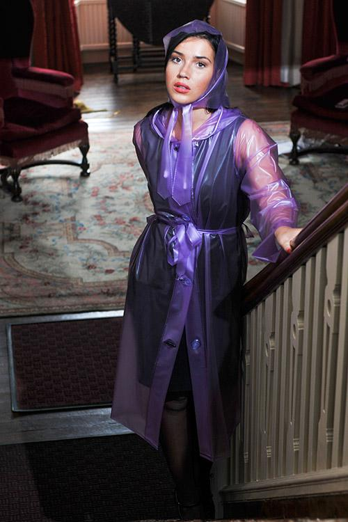 "Authentic 1940s & 50s Style ""Vintage Rain Mac & Headscarf/Bonnet"" in Lilac Semi Trasparent by Elements Rainwear"