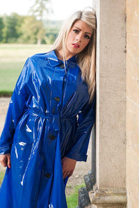 "Elements Rain Wear Late 1950s & 60s Style ""Retro Coat Rain Mac"" in Blue Shiny by Elements Rainwear - RocknRomance Clothing"
