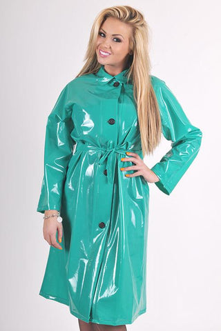 "Elements Rain Wear Late 1950s & 60s Style ""Retro Coat Rain Mac"" in Green Shiny by Elements Rainwear - RocknRomance Clothing"