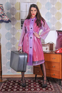 "Elements Rain Wear Late 1950s & 60s Style ""Retro Coat Rain Mac"" in Lilac Semi Transpatent by Elements Rainwear - RocknRomance Clothing"