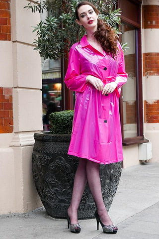 "Elements Rain Wear Late 1950s & 60s Style ""Retro Coat Rain Mac"" in Pink Magenta Shiny by Elements Rainwear - RocknRomance Clothing"