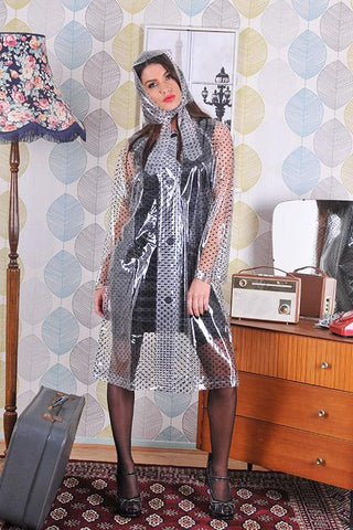 "Elements Rain Wear Late 1950s & 60s Style ""Retro Coat Rain Mac"" in Clear with Black Polka Dots by Elements Rainwear - RocknRomance Clothing"