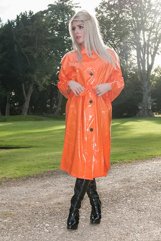"Elements Rain Wear Late 1950s & 60s Style ""Retro Coat Rain Mac"" in Orange Shiney by Elements Rainwear - RocknRomance Clothing"