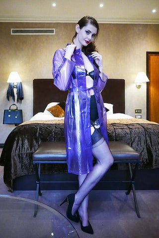 "Elements Rain Wear Late 1950s & 60s Style ""Retro Coat Rain Mac"" in Violet Transparent by Elements Rainwear - RocknRomance Clothing"