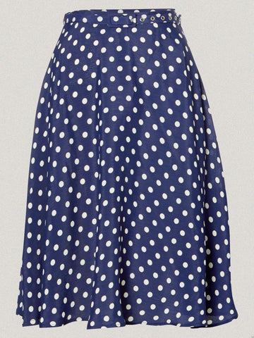 The Seamstress Of Bloomsbury Circle Skirt in Navy Blue with White Polka by The Seamstress Of Bloomsbury, Classic & Authentic Vintage 1940s Style - RocknRomance Clothing