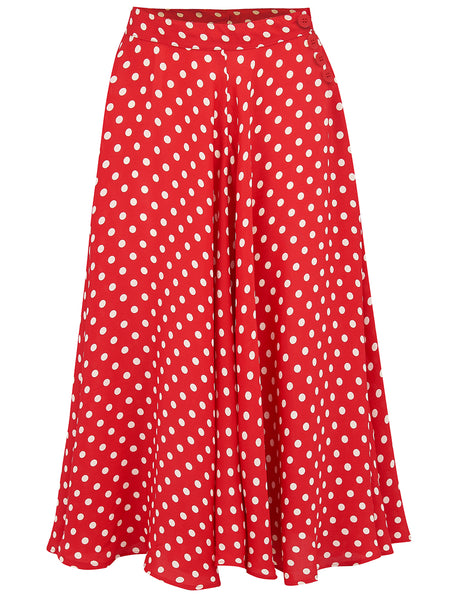 "The Seamstress Of Bloomsbury The 1940s Vintage Inspired ""Isabelle"" Skirt in Red Polka Spot by The Seamstress of Bloomsbury - RocknRomance Clothing"