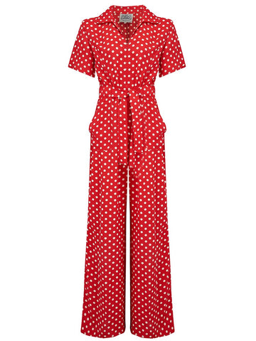 "The Seamstress Of Bloomsbury ""Lauren"" Siren Suit in Red with Polka Spots, Classic 1940s Vintage Holywood Style Inspired - RocknRomance Clothing"