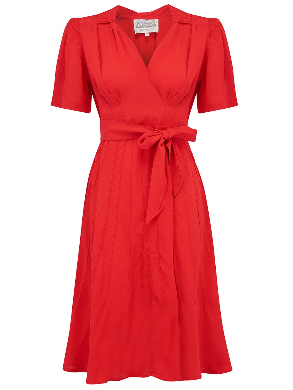 """Nancy"" Tea Dress in Pilliar Box Red made by The Seamstress of Bloomsbury, Classic 1940s Vintage Inspired Style"