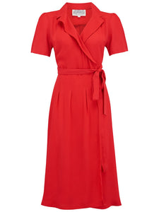 "The Seamstress of Bloomsbury ""Peggy"" Wrap Dress in Solid Red, Classic 1940s Vintage Inspired Style - RocknRomance Clothing"