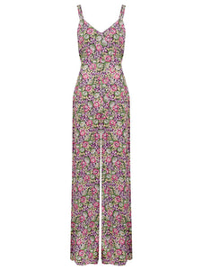 "The 1940s Vintage Inspired ""Charlotte"" Jump Suit in Lilac/Floral Print by The Seamstress of Bloomsbury"