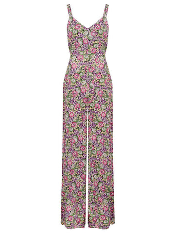 "The Seamstress Of Bloomsbury ""Charlotte"" Jump Suit in Lilac/Floral Print, 1940s Vintage Inspired Style - RocknRomance Clothing"