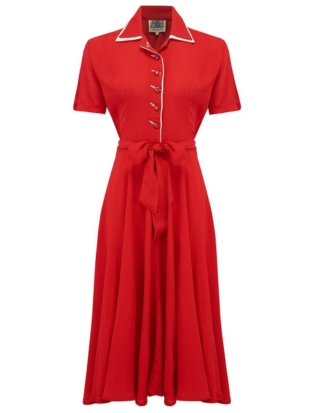 """Mae"" Tea Dress in Red with Cream Contrasts by The Seamstress of Bloomsbury, Classic 1940s Vintage Style"