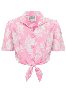 1940's Vintage Inspired 'Marilyn' Tie-Shirt in 'Pink Hawaii' by The Seamstress of Bloomsbury