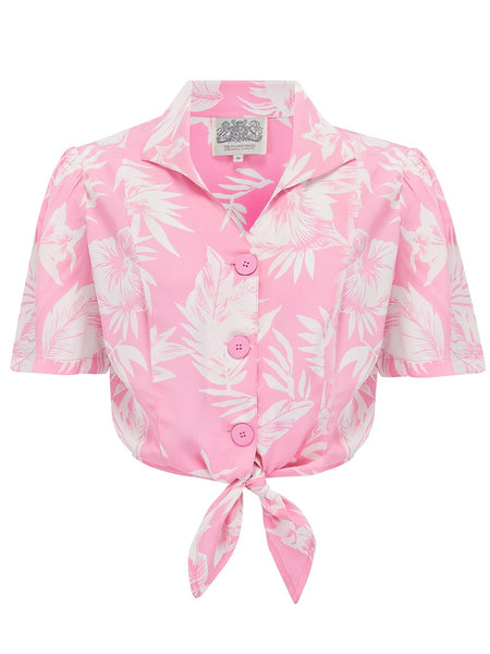 The Seamstress Of Bloomsbury 1940's Vintage Inspired 'Marilyn' Tie-Shirt in 'Pink Hawaii' by The Seamstress of Bloomsbury - RocknRomance Clothing