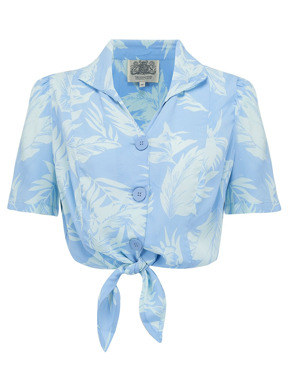 The Seamstress Of Bloomsbury 1940's Vintage Inspired 'Marilyn' Tie-Shirt in 'Blue Hawaii' by The Seamstress of Bloomsbury - RocknRomance Clothing