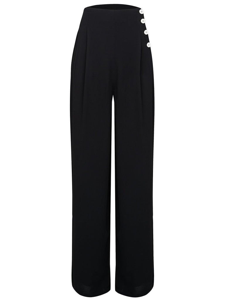 Authentic Vintage 1940/'s Style Audrey Trousers in Black by The Seamstress of Bloomsbury