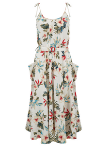 "Rock n Romance ""Suzy"" Sun Dress in Hawaiian Print, Authentic 1950s Vintage Tiki Style - RocknRomance Clothing"