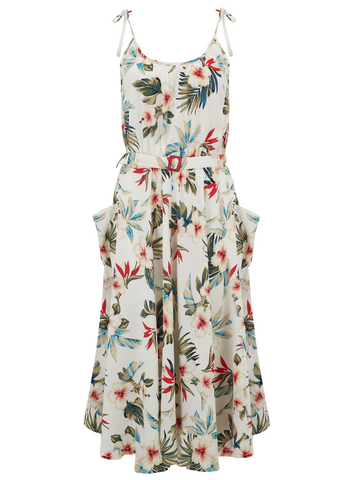 """Suzy Sun Dress"" in Hawaiian Print by Rock n Romance, Authentic 1950s Vintage Style"