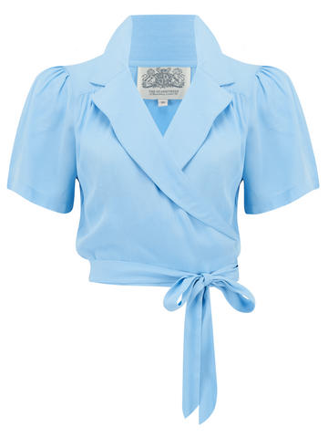 "The 1940s Vintage Inspired Wrap Style ""Greta"" Blouse in Powder Blue by The Seamstress Of Bloomsbury - RocknRomance True 1940s & 1950s Vintage Style"
