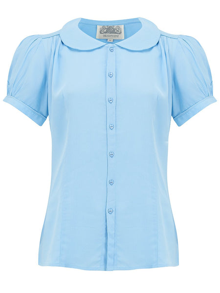 "The Seamstress Of Bloomsbury ""Jive"" Short Sleeve Blouse in Powder Blue, Classic 1940s Vintage Inspired Style - RocknRomance Clothing"