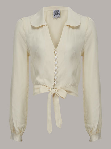 """Clarice"" Long Sleeve Blouse in Cream, Classic 1940s Vintage Inspired Style - RocknRomance True 1940s & 1950s Vintage Style"