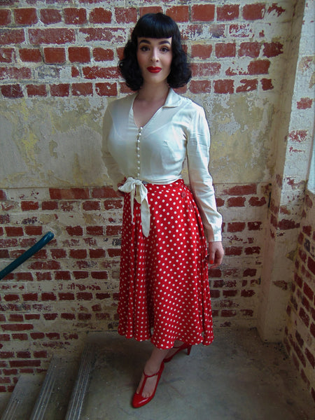 """Clarice"" Long Sleeve Blouse in Cream by The Seamstress Of Bloomsbury, Classic 1940s Vintage Inspired Style"
