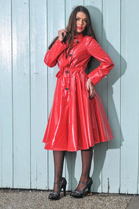 "Elements Rain Wear **UK Hand Made To Order** Authentic 1950s Style ""Double Breasted & Skirted Rain Mac "" in Red Shiny by Elements Rainwear - RocknRomance Clothing"