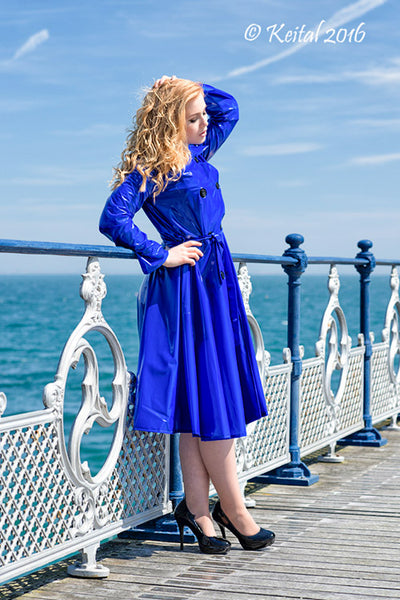 "**UK Hand Made To Order** Authentic 1950s Style ""Double Breasted & Skirted Rain Mac "" in Blue Shiny by Elements Rainwear"