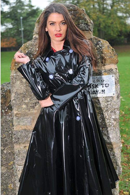 "**UK Hand Made To Order** Authentic 1950s Style ""Double Breasted & Skirted Rain Mac "" in Black Shiny by Elements Rainwear - RocknRomance True 1940s & 1950s Vintage Style"