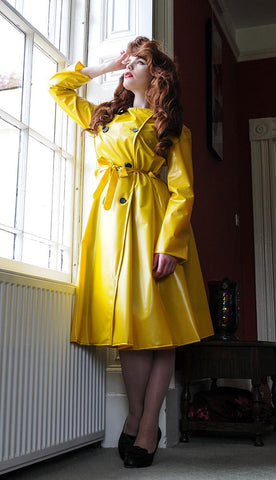 "**UK Hand Made To Order** Authentic 1950s Style ""Double Breasted & Skirted Rain Mac "" in Mustard Yellow Matt by Elements Rainwear"