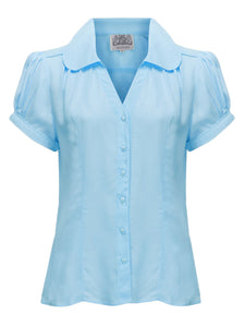 "The Seamstress Of Bloomsbury The 1940s Vintage Inspired ""Judy"" Blouse in Powder Blue by The Seamstress Of Bloomsbury - RocknRomance Clothing"
