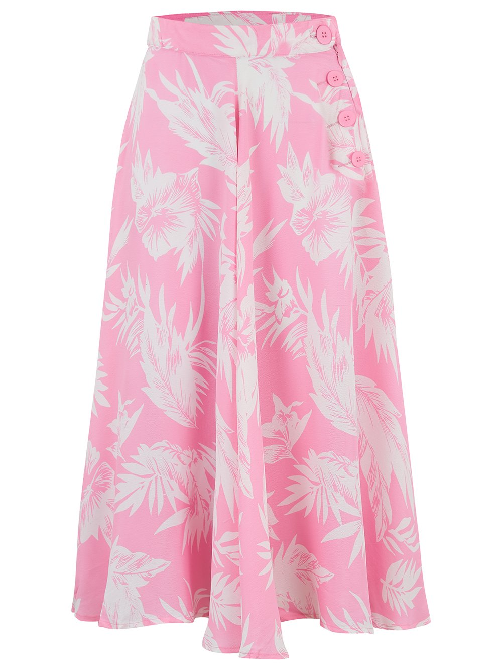 "The 1940s Vintage Inspired ""Isabelle"" Skirt in Pink Hawaii by The Seamstress of Bloomsbury"