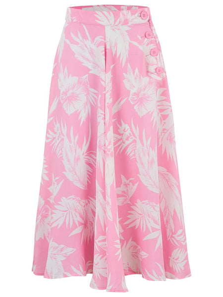 "The Seamstress Of Bloomsbury The 1940s Vintage Inspired ""Isabelle"" Skirt in Pink Hawaii by The Seamstress of Bloomsbury - RocknRomance Clothing"